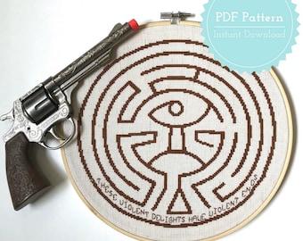 Westworld Maze Cross Stitch Pattern PDF