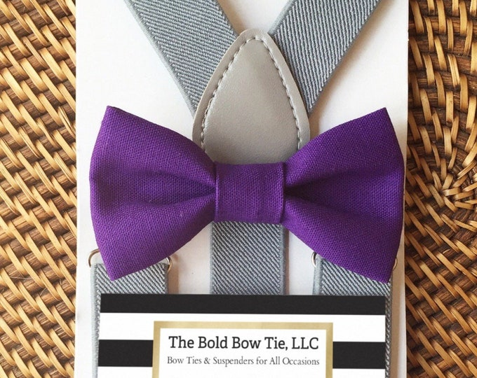 Purple Bow Tie & Gray Suspenders, Purple Toddler Bow Tie, Ring Bearer Outfit, Baby Bow Tie, Bow Ties for Men, Suspenders, Bow Ties ALL SIZES
