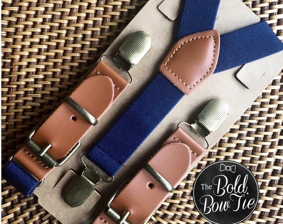 Leather Suspenders, Navy Suspenders, Buckle Suspenders, Ring Bearer Outfit, Wedding Suspenders, Groomsmen Suspenders, Mens Suspenders