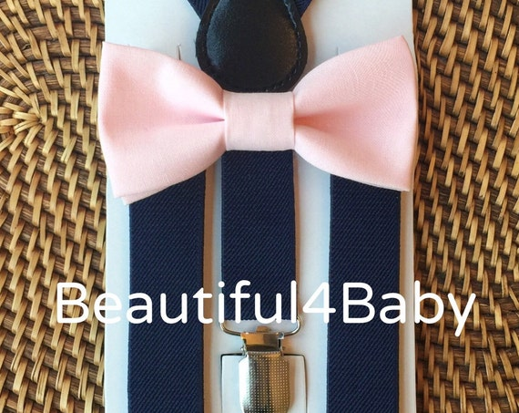 Blush Bow Tie, Navy Suspenders, Blush Baby Bow Tie, Pink Bow Tie, Blush Pink Bow Tie, Blush Bow Tie Navy Suspenders Set, Wedding Suspenders