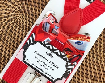 Lightening McQueen Inspired Bow Tie and Red Suspenders, Lightening McQueen Birthday, Cars Bow Tie, Cars Birthday, 6mo- 5yrs
