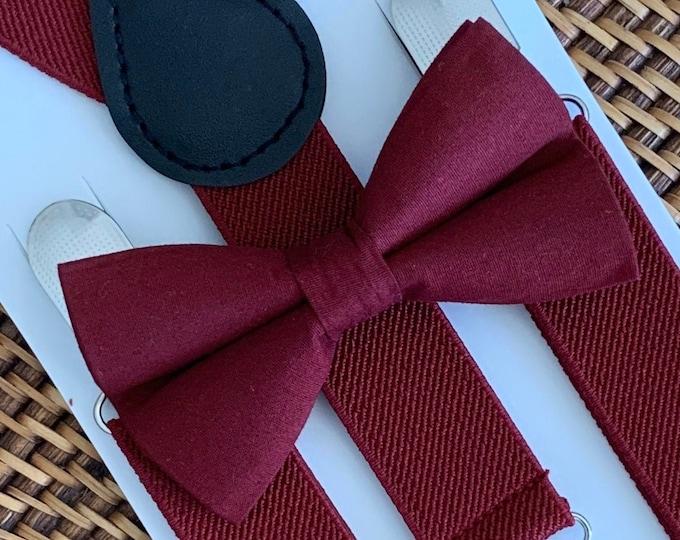 Burgundy Bow Tie & Burgundy Suspenders, Wine Bow Tie, Suspenders, Maroon Bow Tie, Mens Bow Tie, Baby Bow Tie, Toddler Bow Tie, Bow Ties