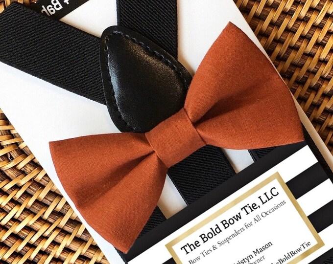 Burnt Orange Bow Tie, Baby Bow Tie, Orange Bow Tie, Toddler Bow Tie, Dark Orange Bow Tie, Suspenders and Bow Tie, Mens Bow Tie, Boys Bow Tie
