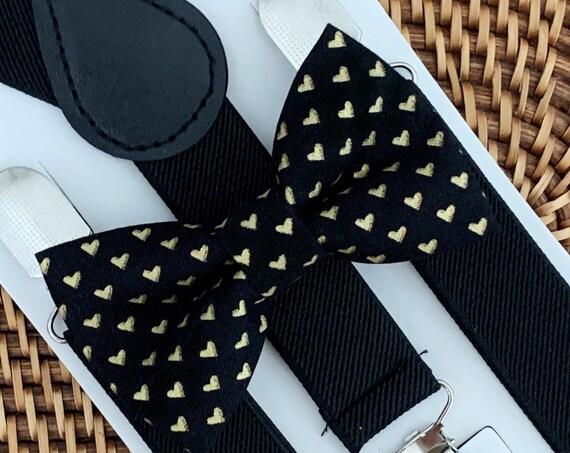 Heart Bow Tie & Black Suspenders, Valentines Day Bow Tie, Boys Bow Tie, Toddler Bow Tie, Bow Tie for Men, Bow Tie for Boys, Suspenders