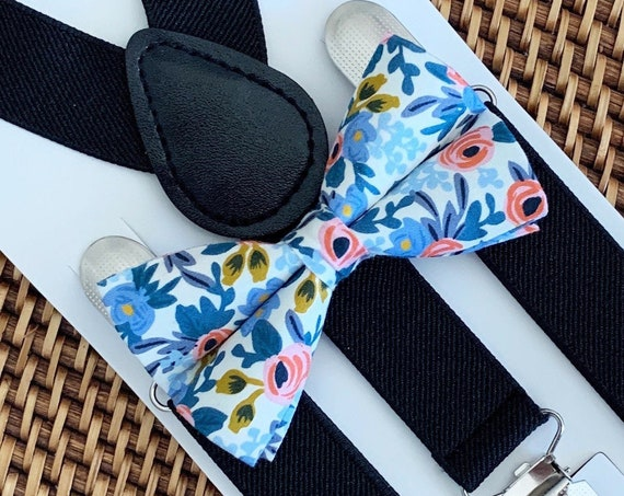 Floral Bow Tie & Black Suspenders, Boys Bow Ties, Ring Bearer Outfit, Rifle Paper Co, Baby Bow Tie, Toddler Bow tie, Bow Ties for Men