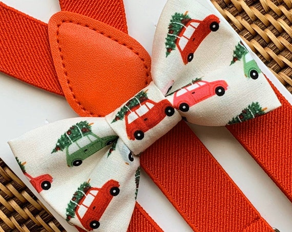 Christmas Bow Tie & Suspenders Red, Christmas Outfit for Boys, Bow Ties for Men, Toddler Suspenders, Baby Bow Tie, Christmas Gift, Bow Ties