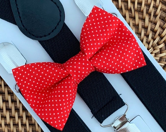 Red Bow Tie & Black Suspenders, Valentines Day Bow Tie, Boys Bow Ties, Mens Suspenders, Boys Suspenders, Toddler Bow Ties, Valentine's Day