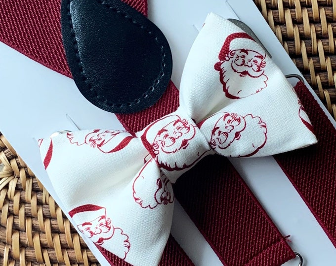 Christmas Bow Tie & Burgundy Suspenders, Bow Tie, Boys Bow Tie, Toddler Bow Tie, Baby Bow Tie, Bow Ties, Bow Ties for Men, Christmas Gifts