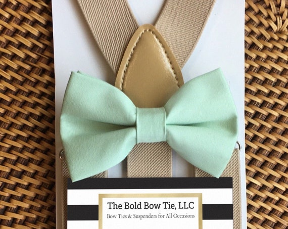 Mint Green Bow Tie, Mint Bow Tie, Ring Bearer Outfit, Boys Bow Ties, Boys Suspenders, Mint Mens Bow Tie, Baby Bow Ties, Toddler Bow Ties