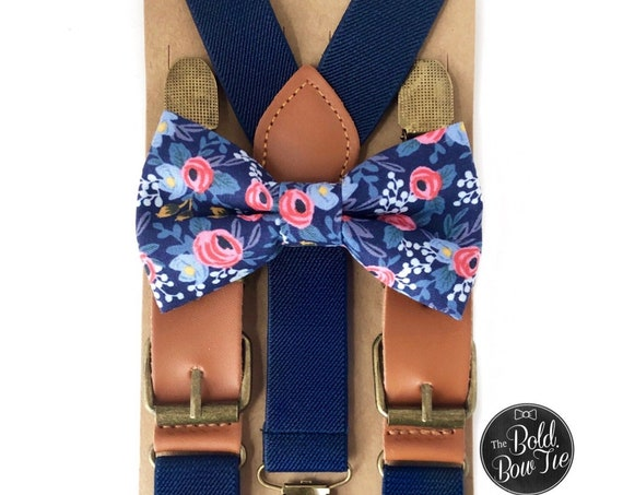Floral Bow Tie & Navy Suspenders, Buckle Suspenders, Ring Bearer Outfit, Mother's Day, Wedding Suspenders, Mens Bow Ties, Leather Suspenders