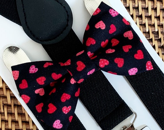 Heart Bow Tie & Black Suspenders, Valentines Day Bow Tie, Boys Bow Tie, Toddler Bow Tie, Bow Tie for Men, Bow Tie for Boys, Gift, Bow Ties