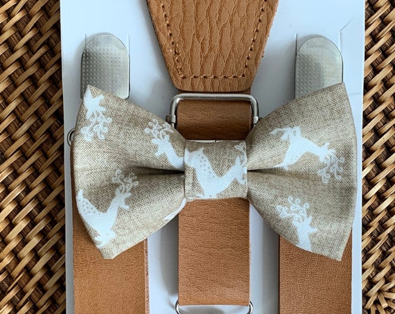 Christmas Bow Tie & Brown Leather Suspenders / Bow Tie for Boys / Men / Toddlers / Baby / Christmas Outfit / Bowties / Bow Tie / Suspenders