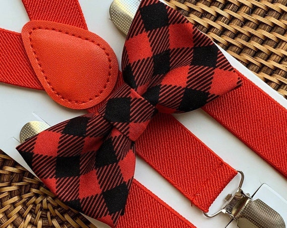 Buffalo Plaid Bow Tie, Buffalo Check Bow Tie, Red Suspenders, Christmas Outfit, Boys Bow Tie, Bow Tie, Suspenders, Toddler Suspenders