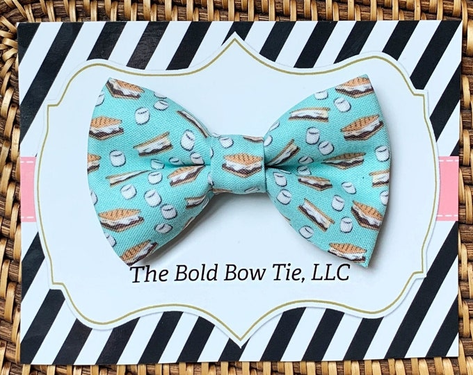 Camping Dog Bow Tie, S'mores Bow Tie for Dogs, Cats, Pets,Dog Lover Gift, Dog Accessories, Dog Gift, Dog Mom Gift, Summer Bow Tie, Pet Gifts
