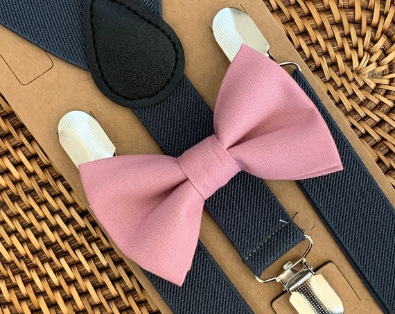 Bow Tie & Suspenders SET Dusty Rose Pink Bow Tie Gray Suspenders for Mens Baby Suspenders Wedding Page Boy Rustic Wedding Bow Tie Suspenders