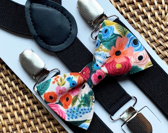 Rifle Paper Co Bow Tie & Black Suspenders, English Garden, Floral Bow Tie, Bow Ties for Men, Boys Bow Tie, Ring Bearer Outfit