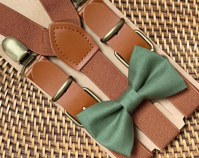 Olive Green Bow Tie & Brown Buckle Suspenders, Ring Bearer Outfit, Boho Wedding, Page Boy Outfit, Bohemian Rustic Wedding, Groomsmen
