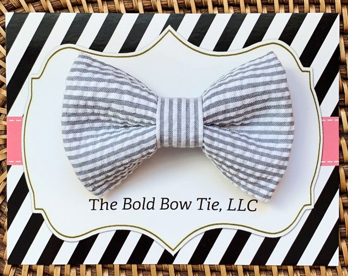 Gray Seersucker Easter Dog Bow Tie, Dog Bowtie, Dog Accessories, Bow Ties for Dogs, Cats, Dog gifts, Dog clothes, Cat Clothes, Cat Gift