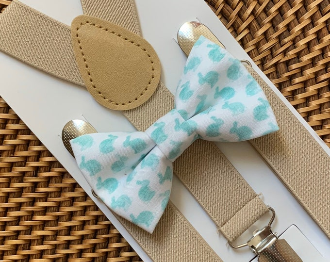 Easter Bow Tie, Bunny Rabbit Bow Tie, Easter Bunny Bow Tie, Easter Outfit, Bow Tie for Men, Boys, Girls, Baby, Toddlers, Gray Bunny Bow Tie
