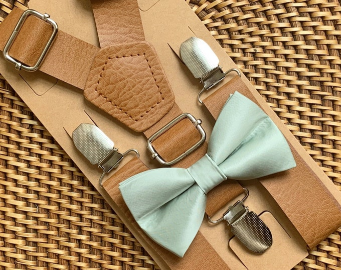 Sage Green Bow Tie & Leather Suspenders, Wedding Suspenders, Dusty Sage Bow Tie, Mens Bow Ties, Ring Bearer Outfit, Boys Bow Tie, ALL SIZES