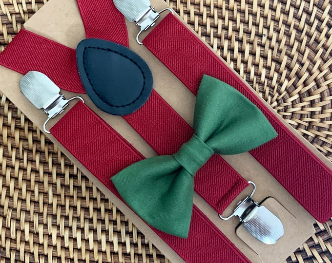 Hunter Green Christmas Bow Tie for Men, Baby, Boys, Toddler, Women, 1st Christmas Outfit, Christmas Wedding, Christmas Party, ALL SIZES