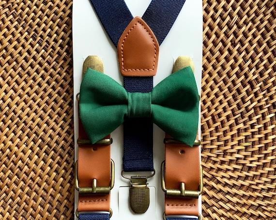 Hunter Green Bow Tie & Suspenders Navy Blue, Christmas Bow Tie, Toddler Suspenders Navy, All Sizes!