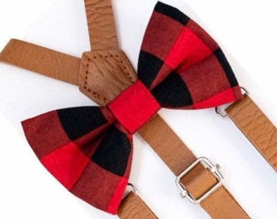 Buffalo Plaid Bow Tie & Leather Suspenders, Red Bow Tie, Christmas Outfit, Christmas Bow Tie, Ring Bearer Outfit, Christmas Family Photos