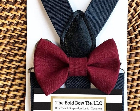 Maroon Bow Tie & Gray Suspenders, Ring Bearer Outfit, Burgundy Bow Tie, Wine Bow Tie, Toddler Bow Tie, Bow Tie for Men, Bow Tie, Suspenders