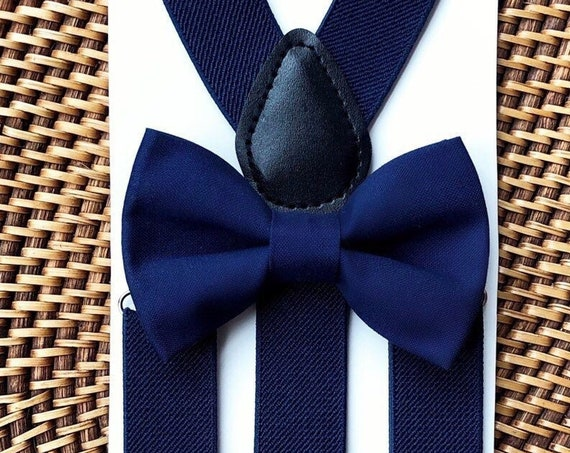 Navy Blue Suspenders and Blue Boys Bow Tie, Baby Wedding Outfit, Ring Bearer Outfit, Baby Boy Gift Ideas, Boy First Birthday Outfit