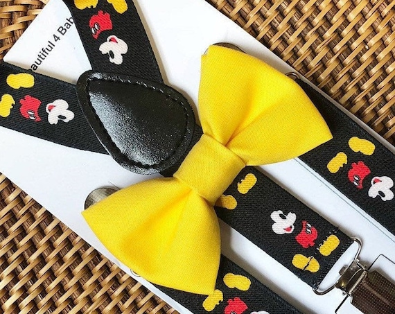 Mickey Mouse Suspenders & Yellow Bow Tie Boys Suspenders Disney Wedding Suspenders for Kids Toddler Suspenders Mickey Suspenders Disney