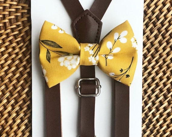 Mustard Bow Tie & Leather Suspenders, Boys Bow Tie, Mens Bow Ties, Floral Bow Tie, Baby Bow Tie, Boho Wedding, Leather Suspenders