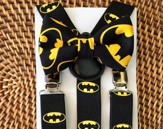 Batman Bow Tie, Batman Suspenders, Toddler Batman, Batman Baby Bow Tie, Batman Suspenders and Bow tie Set, Batman Inspired