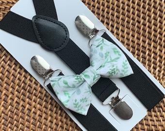 Sage Floral Skinny Tie Bow Tie Pocket Square Set Groomsmen Ties Wedding Tie Set Ring Bearer Bow Tie Tie For Boy On Wedding Day