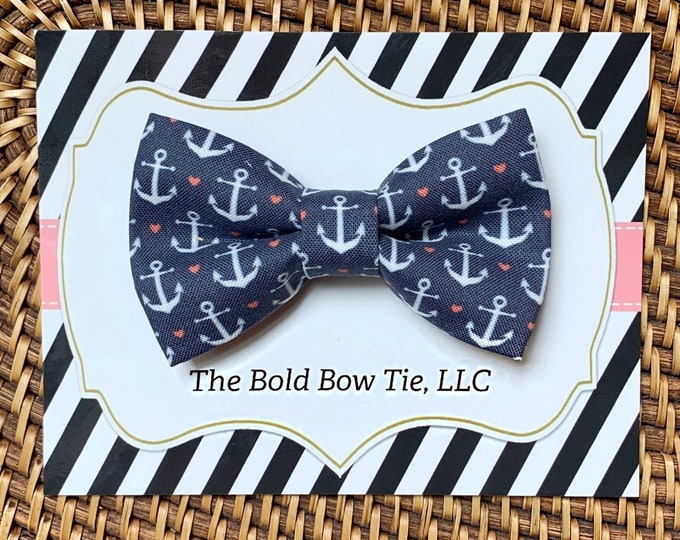 Navy Anchor Dog Bow Tie, Summer Bow Tie for Dogs, Cats, Nautical, Bow Ties, Dog Bow Tie, Dog Accessories, Dog Gift, Dog Lover Gift, Cat Gift