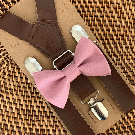 Dusty Rose Bow Tie, Mauve Bow Tie, Wedding Suspenders, Leather Suspenders, Mens Bow Tie, Boys Bow Tie, Ring Bearer Outfit, Groomsmen Bow Tie