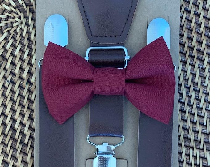 Burgundy Bow Tie Vintage Leather Suspenders Wedding Suspenders Boys Bow Tie Brown Suspenders Leather Suspenders Mens Bow Ties Groomsmen