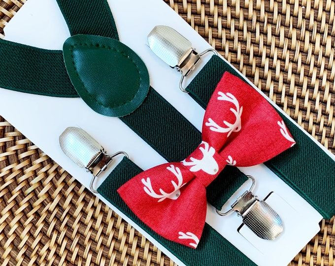 Red Reindeer Bow Tie, Christmas Outfit, Boys Bow Tie, Baby Bow Tie, Mens Bow Tie, First Christmas, Bow Tie for Men, Women, Kids ALL SIZES