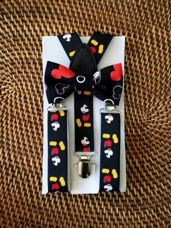 Mickey Mouse Bow Tie, Mickey Mouse Suspenders, Mickey Mouse Inspired, 1st Birthday Outfit, Disney Wedding, Mickey Mouse Birthday