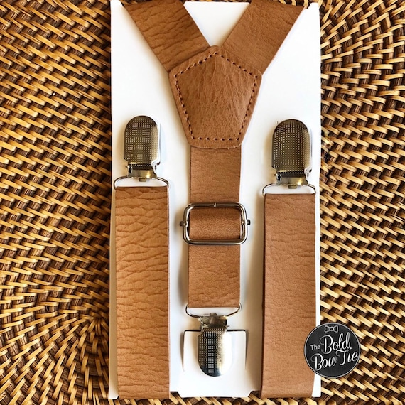 Wedding Suspenders, Leather Suspenders, Mens Suspenders, Groomsmen, Boys Suspenders, Rustic Suspenders, Rustic Wedding, Cognac Suspenders
