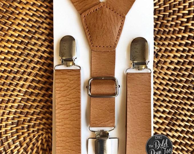 Vintage Tan Mens Rustic Wedding Leather like Suspenders for Men Groomsmen Suspenders Groomsmen Gift Wedding Suspenders Ring Bearer Outfit