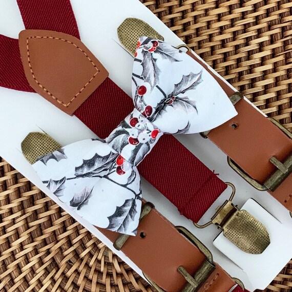 Vintage Christmas Bow Tie & Burgundy Suspenders Christmas Outfit Boys Bow Tie Bow Tie Suspenders Toddler Suspenders, Bow Tie