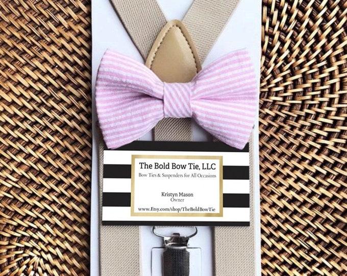 Pink Seersucker Bow Tie, Pink Striped Bow Tie, Easter Bow Tie, Pink Bow Tie, Baby Bow Tie, Toddler Bow Tie, Tan Beige Suspenders, Pink Tie
