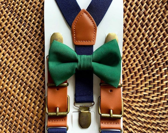 Dark Green Bow Tie & Faux Leather Suspenders, Ring Bearer Outfit, Christmas Outfit, Bow tie for Men, Women, Boys, Girls, Toddlers, Wedding