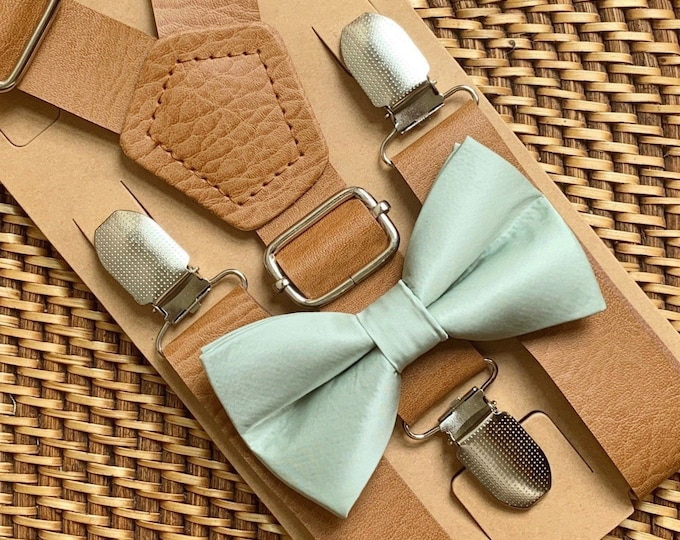 Eucalyptus Sage Green Bow Tie & Faux Leather Suspenders, Dusty Sage Bow Tie, Bohemian Rustic Wedding, Ring Bearer Gift, Ring Bearer Outfit