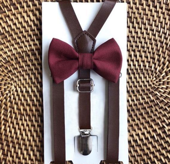 Burgundy Bow Tie, Leather Suspenders, Wedding Suspenders, Boys Bow Tie, Burgundy Bow Ties, Wine Bow Tie & Leather Suspenders, Mens Bow Ties