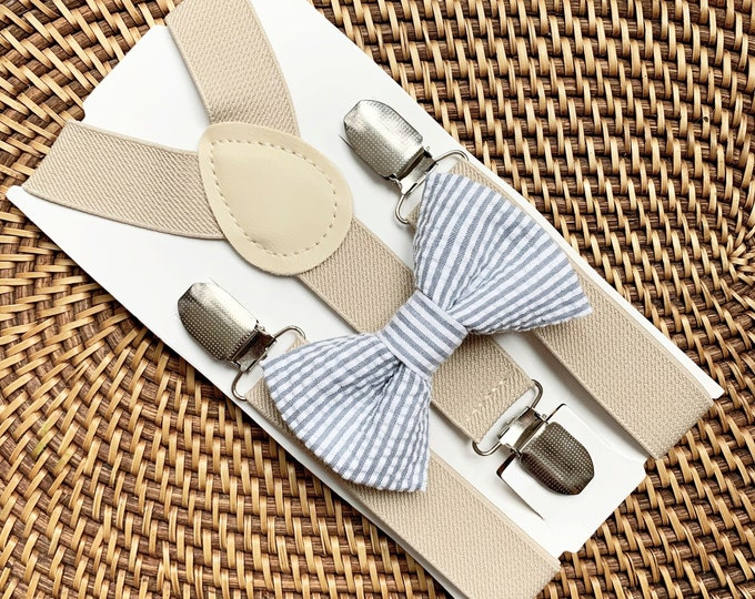 Easter Bow Tie, Gray Seersucker Bow Tie, Grey Striped Bow Tie, Grey Bow Tie, Bow Tie for Men, Boys, Girls, Baby, Toddlers, Gray Bow Tie