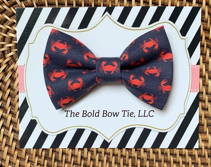 Navy Nautical Dog Bow Tie, Summer Bow Tie for Dogs, Cats, Crabs, Bow Ties, Dog Bow Tie, Dog Accessories, Dog Gift, Dog Lover Gift, Cat Gift