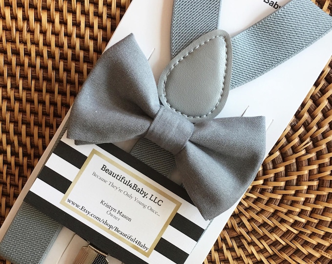 Gray Bow Tie, Grey Bow Tie, Gray Toddler Bow Tie, Gray Ring Bearer Set, Grey Bow Tie & Grey Suspender Set, Ring Bearer Outfit, Mens Bow Ties