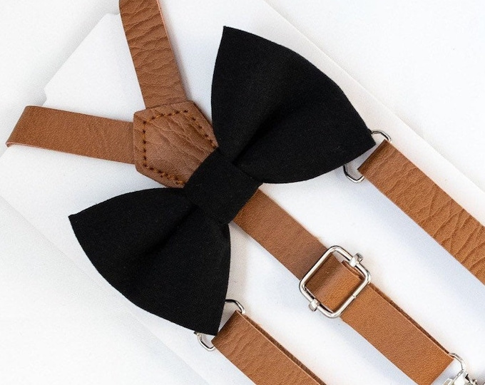 Black Bow Tie & Leather Suspenders, Baby Bow Tie, Toddler Bow Ties, Mens Bow Ties, Wedding Bow Tie, Bow Tie and Suspender Set, Suspenders