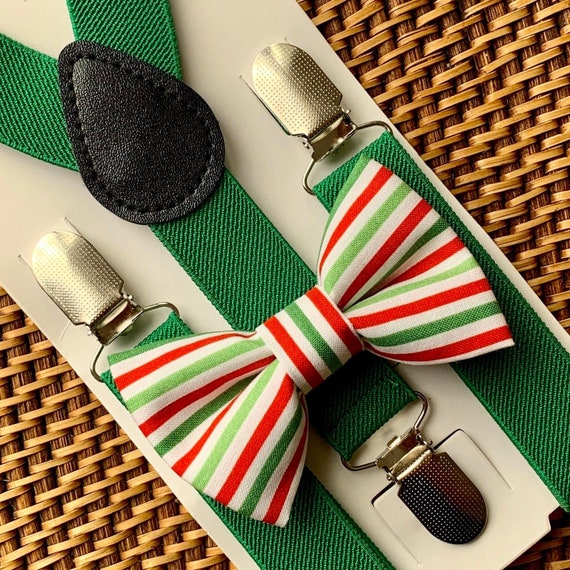 Christmas Bow Tie & Green Suspenders, Red and Green Striped Bow Tie, Boys Bow Tie, Baby Bow Tie, Suspenders, Toddler Bow Tie, Mens Bow Ties
